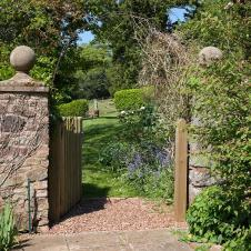 Welcoming entrance to Fursdon's garden